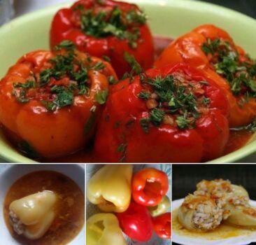 Перец фаршированный мясом и рисом. Домашний фоторецепт
